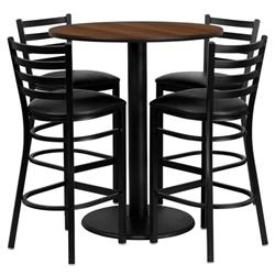 Flash Furniture 36'' Round Walnut Laminate Table Set with 4 Ladder Back Metal Bar Stools - Black Vinyl Seat <br>(FLA-MD-0011-GG)