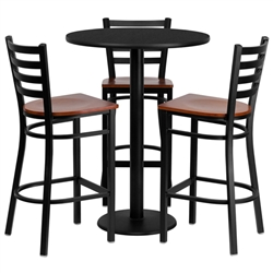 Flash Furniture 30'' Round Black Laminate Table Set with 3 Ladder Back Metal Bar Stools - Cherry Wood Seat<br>(FLA-MD-0013-GG)