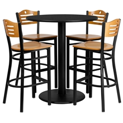 Flash Furniture 36'' Round Black Laminate Table Set with 4 Wood Slat Back Metal Bar Stools - Natural Wood Seat<br>(FLA-MD-0020-GG)
