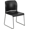 Flash Furniture HERCULES Series 880 lb. Capacity Black Full Back Contoured Stack Chair with Sled Base<br>(FLA-RUT-238A-BK-GG)