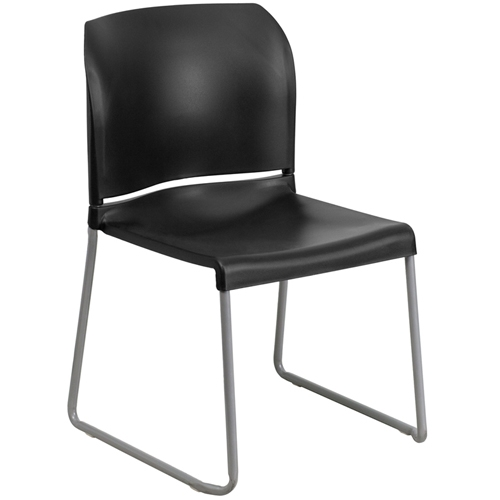 Flash Furniture Hercules Series 880 Lb Capacity Black Full Back Contoured Stack Chair With Sled