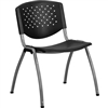 Flash Furniture HERCULES Series 880 lb. Capacity Black Polypropylene Stack Chair with Titanium Frame Finish<br>(FLA-RUT-F01A-BK-GG)