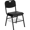 Flash Furniture HERCULES Series Black Plastic Chair with Black Powder Coated Frame and Book Basket<br>(FLA-RUT-GK01)