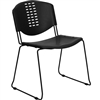 Flash Furniture HERCULES Series 400 lb. Capacity Black Plastic Stack Chair with Black Powder Coated Frame Finish<br>(FLA-RUT-NF02-BK-GG)