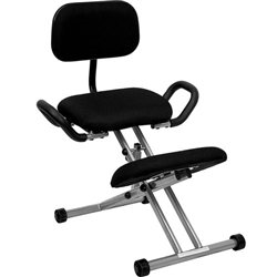 Flash Furniture Ergonomic Kneeling Chair in Black Fabric with Back and Handles<br>(FLA-WL-3439-GG)
