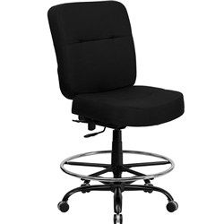 Flash Furniture HERCULES Series Big & Tall Black Fabric Drafting Stool with Extra WIDE Seat<br>(FLA-WL-735SYG-BK-D-GG)
