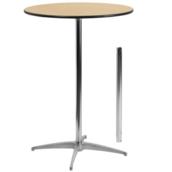 Flash Furniture 30'' Round Wood Cocktail Table with 30'' and 42'' Columns<br>(FLA-XA-30-COTA-GG)