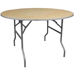 Flash Furniture 48'' Round HEAVY DUTY Birchwood Folding Banquet Table with METAL Edges<br>(FLA-XA-48-BIRCH-M-GG)