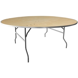 Flash Furniture 72'' Round HEAVY DUTY Birchwood Folding Banquet Table with METAL Edges<br>(FLA-XA-72-BIRCH-M-GG)