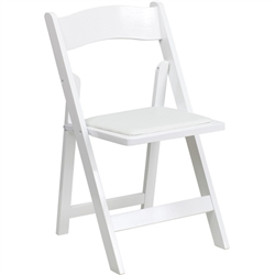 Flash Furniture HERCULES Series White Wood Folding Chair - Padded Vinyl Seat<br>(FLA-XF-2901-WH-WOOD-GG)