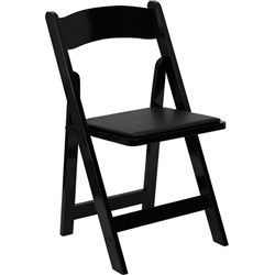 Flash Furniture HERCULES Series Black Wood Folding Chair - Padded Vinyl Seat<br>(FLA-XF-2902-BK-WOOD-GG)