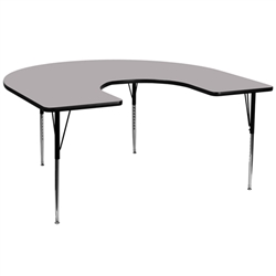Flash Furniture 60''W x 66''L Horseshoe Activity Table with Laminate Top and Standard Height Adjustable Legs<br>(FLA-XU-A6066-HRSE-A-GG)