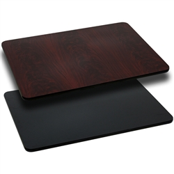 Flash Furniture 24'' x 42'' Rectangular Table Top with Black or Mahogany Reversible Laminate Top<br>(FLA-XU-MBT-2442-GG)