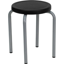 Flash Furniture Stool with Black Seat and Silver Powder Coated Frame<br>(FLA-YK01B-GG)