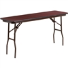 Flash Furniture Rectangular Mahogany Melamine Laminate Folding Training Table - 18'' x 60''<br>(FLA-YT-1860-MEL-WAL-GG)