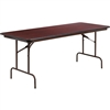 Flash Furniture Rectangular Mahogany Melamine Laminate Folding Banquet Table - 30'' x 72''<br>(FLA-YT-3072-MEL-WAL-GG)