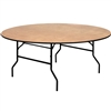 Flash Furniture 72'' Round Wood Folding Banquet Table with Clear Coated Finished Top<br>(FLA-YT-WRFT72-TBL-GG)