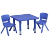 Flash Furniture 24'' Square Adjustable Plastic Activity Table Set with 2 School Stack Chairs<br>(FLA-YU-YCX-0023-2-SQR-R-GG)