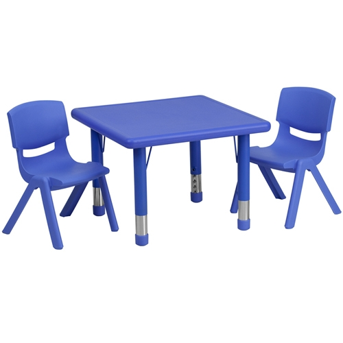 Flash Furniture 24u0027u0027 Square Adjustable Plastic Activity Table Set With 2  School Stack Chairs