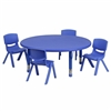 Flash Furniture 45'' Round Adjustable Plastic Activity Table Set with 4 School Stack Chairs<br>(FLA-YU-YCX-0053-2-ROUND-E-GG)
