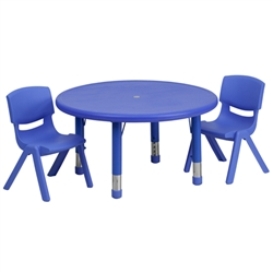 Flash Furniture 33'' Round Adjustable Plastic Activity Table Set with 2 School Stack Chairs<br>(FLA-YU-YCX-0073-2-ROUND-R-GG)