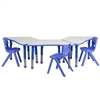 Flash Furniture Trapezoid Plastic Activity Table Configuration with 3 School Stack Chair<br>(FLA-YU-YCY-091-0033-TRP-TBL-GG)