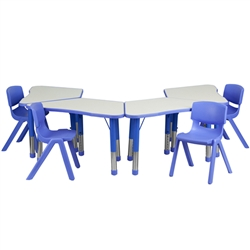 Flash Furniture Trapezoid Plastic Activity Table Configuration with 4 School Stack Chair<br>(FLA-YU-YCY-091-0034-TRP-TBL-GG)