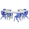 Flash Furniture Trapezoid Plastic Activity Table Configuration with 5 School Stack Chair<br>(FLA-YU-YCY-091-0035-TRP-TBL-GG)
