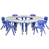 Flash Furniture Trapezoid Plastic Activity Table Configuration with 6 School Stack Chair<br>(FLA-YU-YCY-091-0036-TRP-TBL-GG)