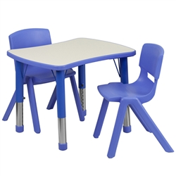 Flash Furniture 21.875''W x 26.625''L Adjustable Rectangular Plastic Activity Table Set with 2 School Stack Chairs<br>(FLA-YU-YCY-098-0032-REC-TBL-GG)