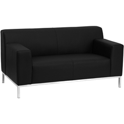 Flash Furniture HERCULES Definity Series Contemporary Black Leather Love Seat with Stainless Steel Frame<br>(FLA-ZB-DEFNTY-8009-LS-BK-GG)