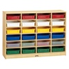 Jonti-Craft Baltic Birch Paper Tray Cubby Unit - 24 Cubbies with Colorful Trays  (Jonti-Craft JON-0625JC)