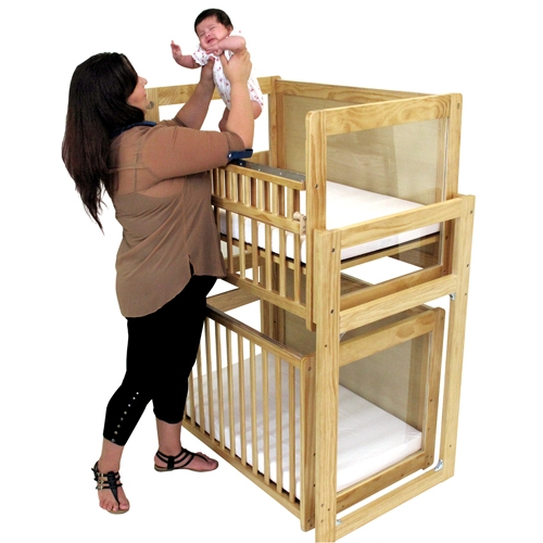 Lovely L.A. Baby Stackable Modular Window Crib With Dual Fixed Side Rails     Mattress Included