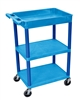 Luxor 3 Shelf Plastic Blue Tub Cart w/ Tub Top & Flat Middle/Bottom (Luxor LUX-BUSTC122BU)