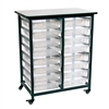 Luxor Mobile Bin Storage Unit - Double Row with Small Clear Bins