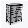 Luxor Mobile Bin Storage Unit - Double Row - Small Bins