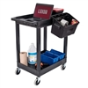 "Luxor 24"" x 18"" Plastic Utility Tub Cart - Two Shelves with Outrigger Utility Cart Bins (Luxor LUX-SEC11-B-OUTRIG)"