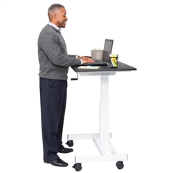 "Luxor STANDUP-SC40-WB - 40"" Single Column Crank Stand Up Desk (LUX-STANDUP-SC40-WB)"
