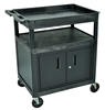 Luxor Large Tub Top & Flat Shelf Cart w/ Cabinet (Luxor LUX-TC122C-B)