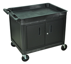 Luxor  Large Top Tub & Flat Bottom Shelf Cart w/ Cabinet (LUX-TC12C-B)