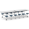 "Virco MTS17291012AE - Mobile Stool Cafeteria Table - Sure Edge - 17"" Seat Height - 10'L - 12 Stools (Virco MTS17291012AE)"