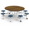 "Virco MTSO172958 - Oval Mobile Stool Cafeteria Table - Bullnose T Mold Edge - 17"" Seat Height - 8 Stools (Virco MTSO172958)"