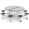 "Virco MTSO172958AE - Oval Mobile Stool Cafeteria Table - Sure Edge - 17"" Seat Height - 8 Stools (Virco MTSO172958AE)"