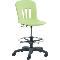 "Virco N9LAB - Metaphor Series Plastic Mobile Lab Stool with Chrome Footring and Black Base/Wheels - Seat Adjusts from 18 3/4"" to 26 1/4""  (Virco N9LAB)"