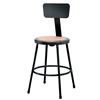 "NPS 24""H Black Heavy-Duty Steel Stool with Backrest (National Public Seating NPS-6224B-10)"