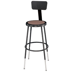 "NPS 25""-32 1/2""H Black Heavy-Duty Steel Stool with Backrest (National Public Seating NPS-6224HB-10)"