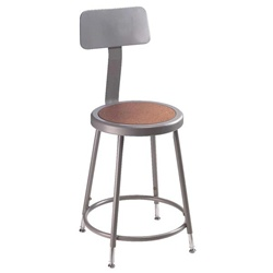 "NPS 25-33""H Adjustable Stool with Backrest  (National Public Seating NPS-6224HB)"