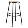 NPS 24 inches Heavy Duty Steel Stool with Vinyl Padding - Black (National Public Seating NPS-6230-10)