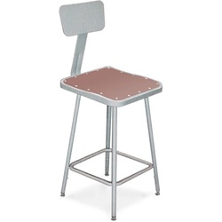 "NPS 18""H Square Stool with Hardboard Seat & Backrest  (National Public Seating NPS-6318B)"