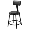 "NPS 18""H Stool with Padded Seat and Backrest  (National Public Seating NPS-6418B-10)"